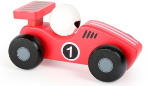 Small Foot raceauto hout rood/wit 13 x 6 cm