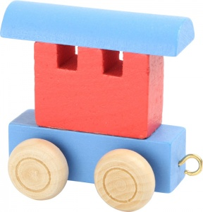 Small Foot railcar timber red / blue 6 x 3 x 5.5 cm