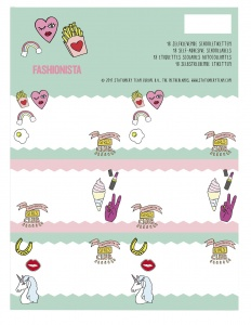 Stationery Team Labels Fashionista 18 pieces