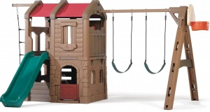 Step2 aire de jeux Adventure Lodge Play Center 373 cm marron