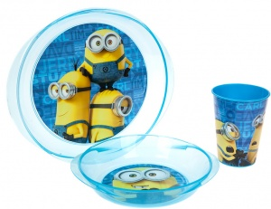 Stor Lunchset Minions bleu micro-ondes 3-pièces Minions