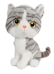 Take Me Home knuffel poes junior 30 cm pluche grijs