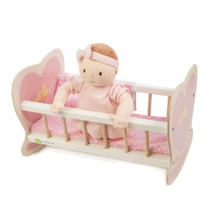 Tender Leaf Toys doll's bed with mattress wood pink 44x28x28 cm