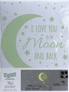 Tender Toys glow in the dark muurstickers maan vel 70 x 50 cm
