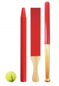Free and Easy honkbalset hout outdoor games 8-delig blank/rood