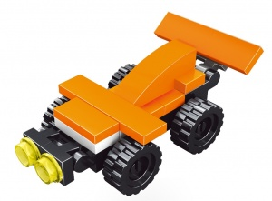 Toi-Toys Blocksatz Rennwagen orange 12,5 cm