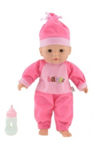 Toi-Toys Lying baby doll dark pink 30cm