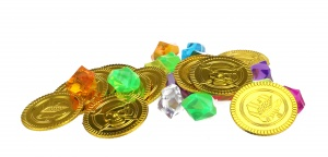 Toi-Toys pirate coins 3.5 cm gold and diamonds