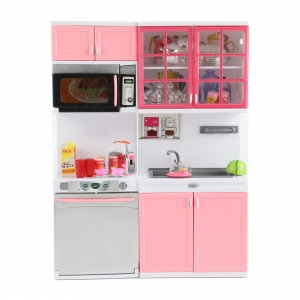 Toi-Toys doll's kitchen Lauren Deluxe with light and sound grey/pink