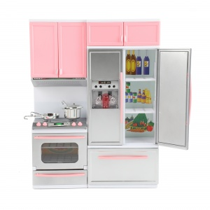 Toi-Toys doll's kitchen Lauren Deluxe with light and sound pink/grey