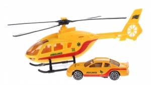 Toi-Toys Rescue Team set helikopter met auto geel ambulance