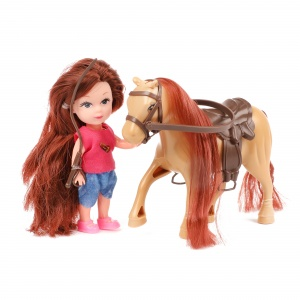 Toi-Toys teenager doll with horse 11 cm 3-piece brown