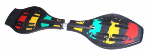 TOM waveboard with carrying bag junior 75 x 20 cm rubber black