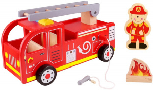 Tooky Toy fire engine boys 29.5 cm wood red 3-piece