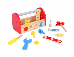 Tooky Toy toolbox junior 24 cm wood red 12-piece