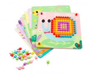 Tooky Toy insteekmozaiek Pegs junior 23,5 x 4,6 cm 6-delig