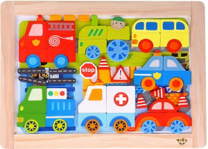Tooky Toy magneetpuzzel Auto's junior 38 cm hout 59-delig