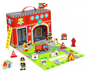 Tooky Toy dollhouse fire brigade wood red 3-piece