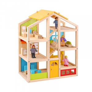 Tooky Toy doll's house junior 49.2 x 16.2 x 60.5 cm wood 10-piece