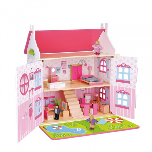 Tooky Toy dollhouse girls 60 x 55 x 30 cm wood pink 32-piece