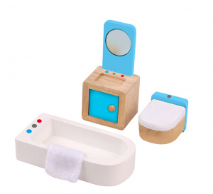 Tooky Toy dollhouse interior design Bathroom wood white/blue 3-piece
