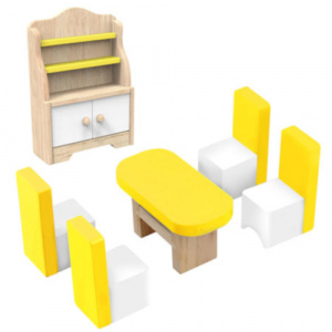 Tooky Toy doll's house interior Dining room wood white/yellow 6-piece