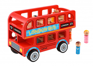 Tooky Toy toy box London 28,5 x 19 cm wood red 9-piece