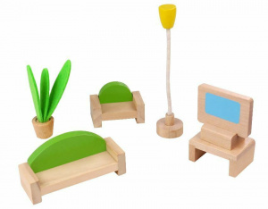 Tooky Toy dollhouse interior design Living room wood natural 5-piece