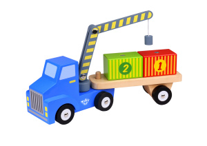 Tooky Toy truck with crane boys 36 cm wood 4-piece