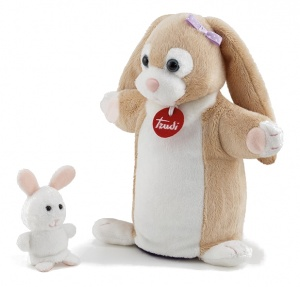 Trudi hand and finger puppet rabbit white/ brown 23 cm