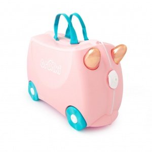Trunki reiskoffer Ride-on Flamingo Flossi 46 x 30 cm roze