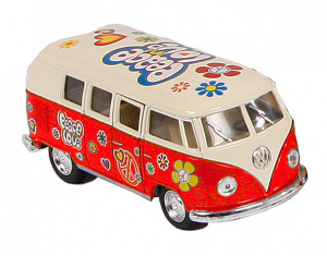 Toys Amsterdam bus Volkswagen Classic Flowerpower 1:32 staal rood