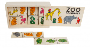 Van Manen dominospel Zoo Dominos junior hout 28-delig