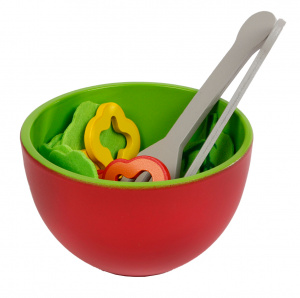 Toys Amsterdam salad set junior wood red/green/yellow 28-piece