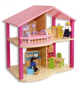 Viga Toys dollhouse + decoration 45 cm pink