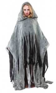 Witbaard poncho zombie polyester grijs maat M/L
