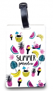 Worldpack bagagelabel Summer Paradise 11 cm wit/multicolor