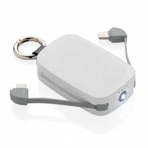 XD Collection powerbank sleutelhanger 1.200 mAh 6,6 cm wit