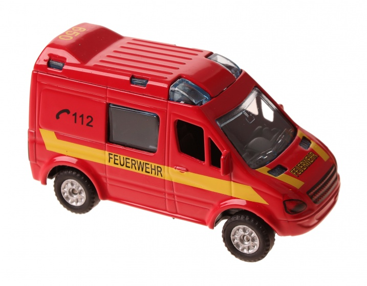2 Play Duitse brandweerwagen diecast pull back 8 cm rood