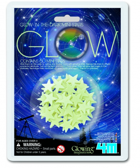 4M Glow in The Dark Mini-Pack: Mini-Sterren Wit