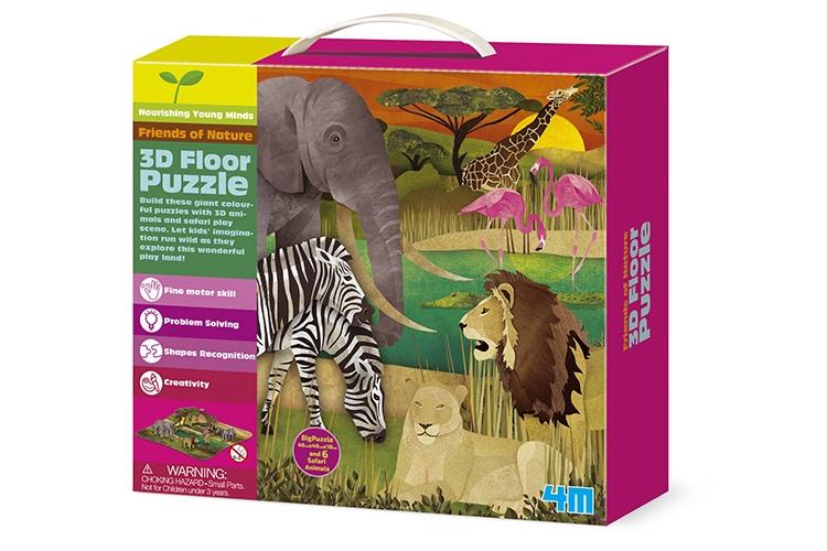 4M Vloerpuzzel 3D Safari 15 stukjes