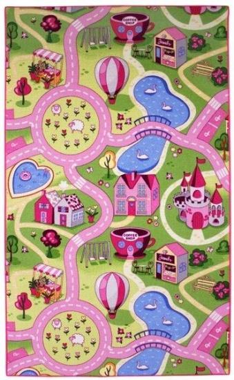 A&W Sweet Town speelkleed 100 x 165 cm roze