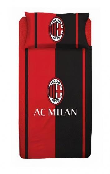 AC Milan dekbedovertrek junior 140 x 200 cm rood/zwart katoen