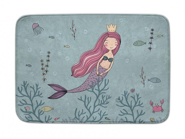 ACHOKA speelkleed zeemeermin Decomat 100 x 150 cm blauw/roze