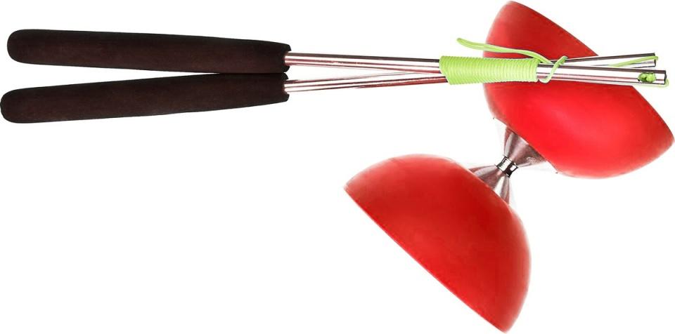 Acrobat diabolo 105 rubber aluminium 12 x 10,5 cm rood
