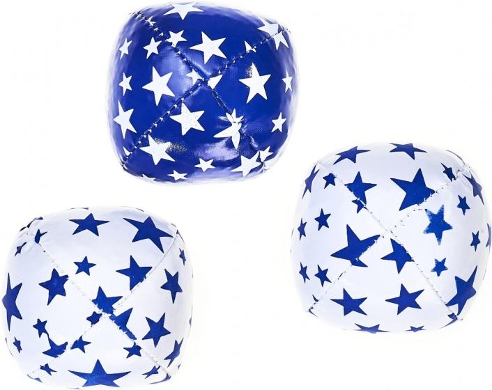 Acrobat jongleerballen 80 gram blauw/wit 3 delig