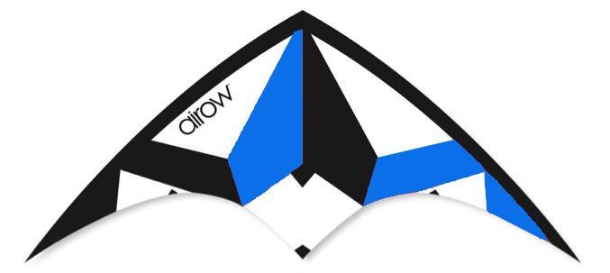 Airow Stuntvlieger Tornado 115 x 50 cm blauw/wit/zwart