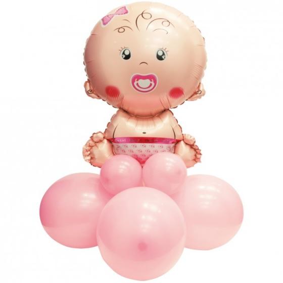 Pegaso ballonnen set baby meisje 90 cm roze