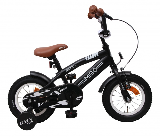 BMX Fun 12 Inch 21 cm Boys Coaster Brake Matte black