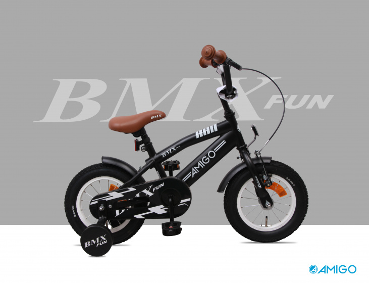 BMX Fun 16 Inch 28 cm Boys Coaster Brake Matte black